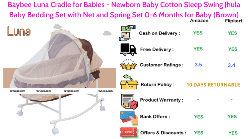 Baybee Luna Cradle for Newborn Babies - Cotton Sleep Swing Jhula Baby Bedding Set with Spring & Net Set for 0-6 Months for Babies