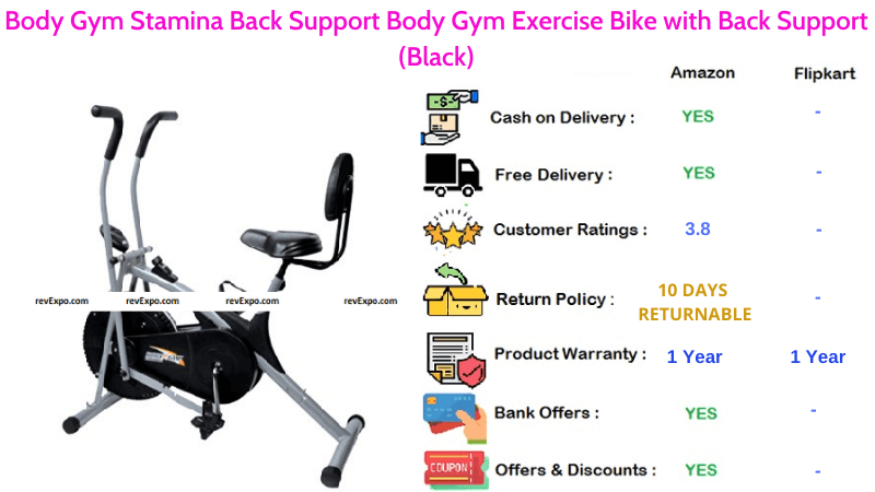Body Gym Exercise Cycle Stamina with Back Support Body Gym Bike