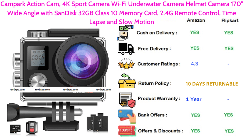 Campark Helmet Camera 4K with Wi-Fi, 170° Wide Angle, SanDisk 32GB Class 10 Memory Card, 2.4G Remote Control, Time Lapse & Slow Motion Underwater Sport Camera