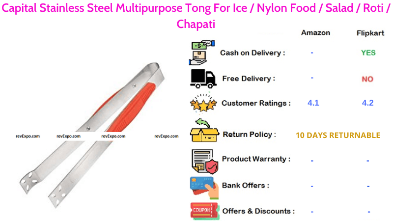 Capital Multipurpose Tong with Stainless Steel Material for Serving Ice, Nylon Food, Salad, Roti & Chapati