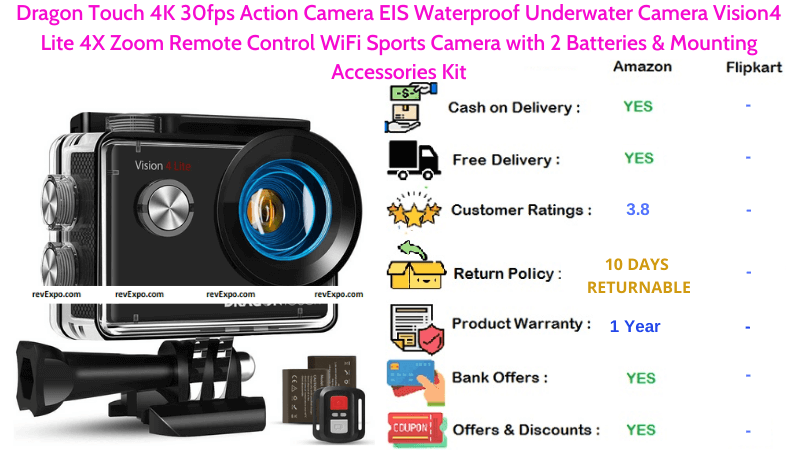 Dragon Touch Helmet Camera with Vision4 Lite 4X Zoom, Remote Control & WiFi 4K 30fps EIS Waterproof Underwater Sports Camera 2 Batteries and Mounting Accessories Kit