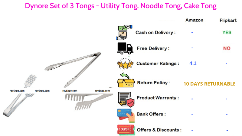 Dynore Kitchen Tong Set of 3 - Utility Tong, Noodle Tong and Cake Tong