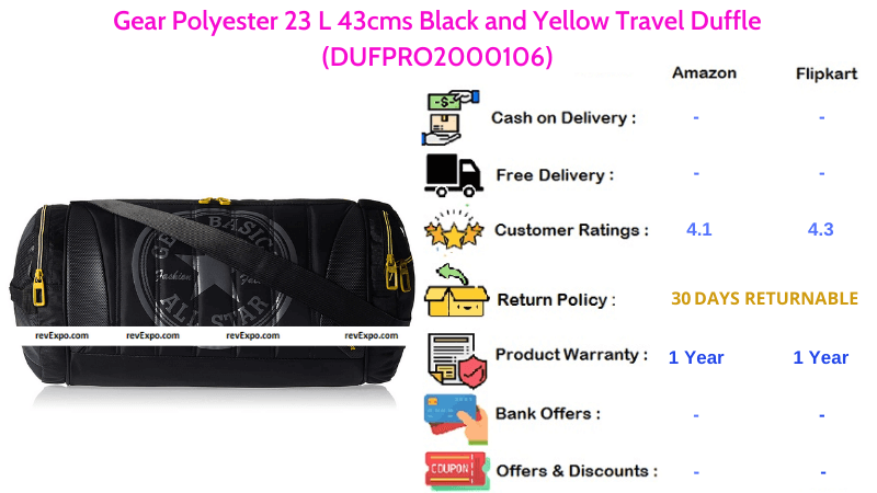 Gear Duffle Bag made with Polyester 43 cms Black & Yellow Travel Bag