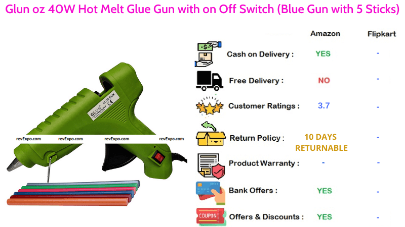 Glun oz Glue Gun Hot Melt with 40W & On Off Switchwith 5 Colourful Sticks