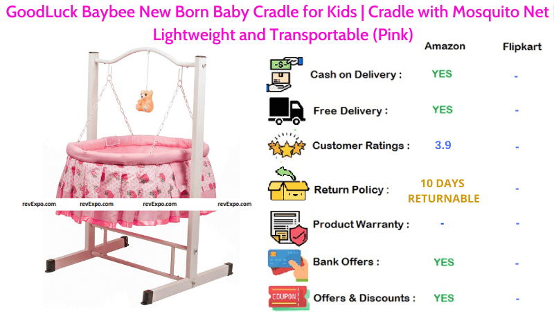 GoodLuck Baybee Baby Cradle for New Born Kids with Transportable, Lightweight & Mosquito Net