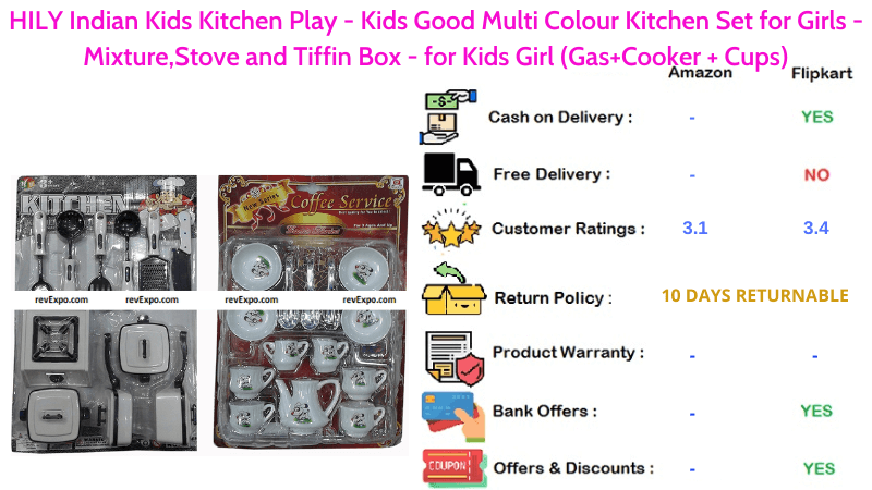 HILY Indian Kitchen Play Set for Kids with Mixture, Gas, Cooker, Cups, Stove & Tiffin Box in Multi Colour