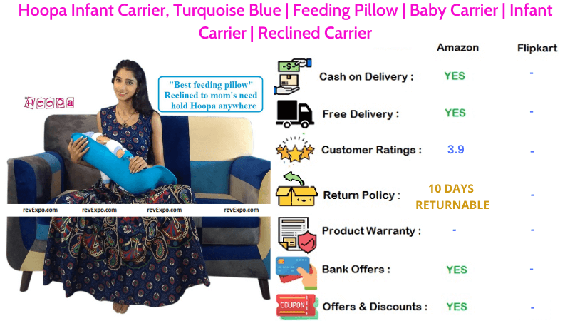 Hoopa Feeding Pillow Infant Carrier Baby Reclined Carrier in Turquoise Blue