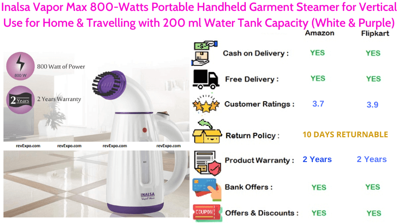 Inalsa Vapor Max Garment Steamer Portable Handheld with 200 ml WaterTank Capacity & 800-Watts for Vertical Use at Home & Travelling in White & Purple