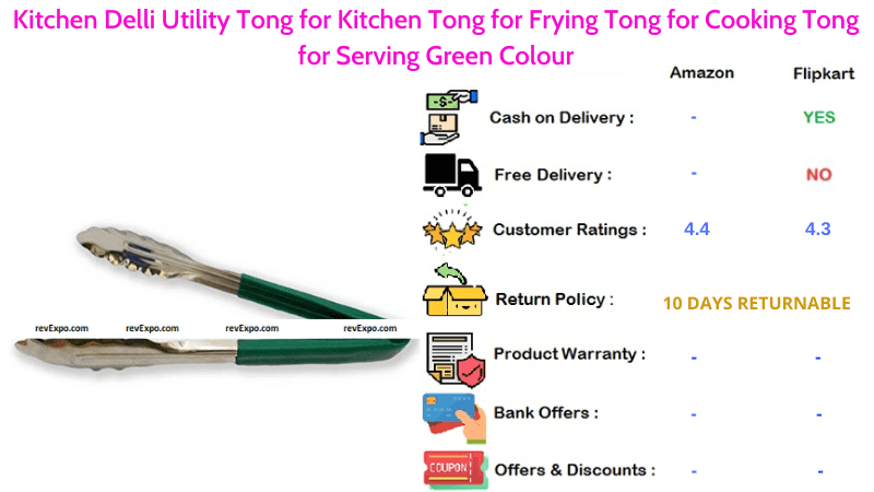 Kitchen Delli Utility Tong for Frying, Cooking and Serving in Green Colour