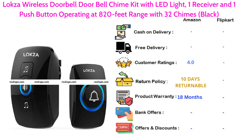 Lokza Calling Bell Wireless Bell Chime Kit Operating at 820-feet Range with 32 Chimes with LED Light, Receiver & Push Button
