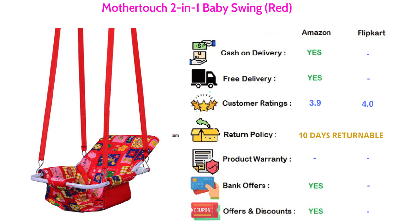 Mothertouch 2 in 1 Baby Swing in Red Colour