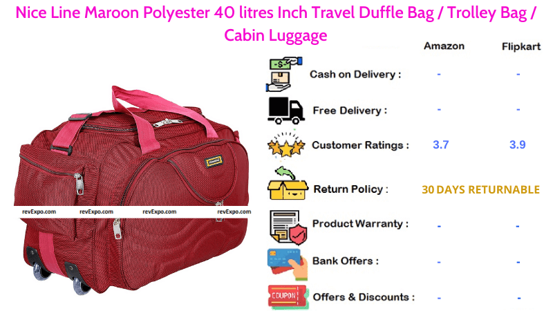 Nice Line Duffle Bag with Maroon Polyester Material 40 litres Travel Trolley Bag