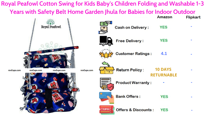 Royal Peafowl Baby Swing with Cotton Material & Safety Belt Children Folding & Washable Indoor or Outdoor for 1-3 Years Home Garden Jhula