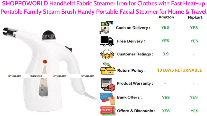 SHOPPOWORLD Handheld Fabric Garment Steamer Iron for Clothes with Fast Heat-up Handy Portable Facial Steamer Portable Family Steam Brush for Home & Travel