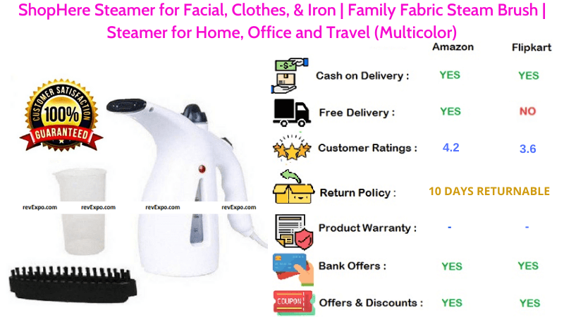 ShopHere Garment Steamer for Facial, Clothes, & Iron Family Fabric Steam Brush for Home, Office & Travel in Multicolor