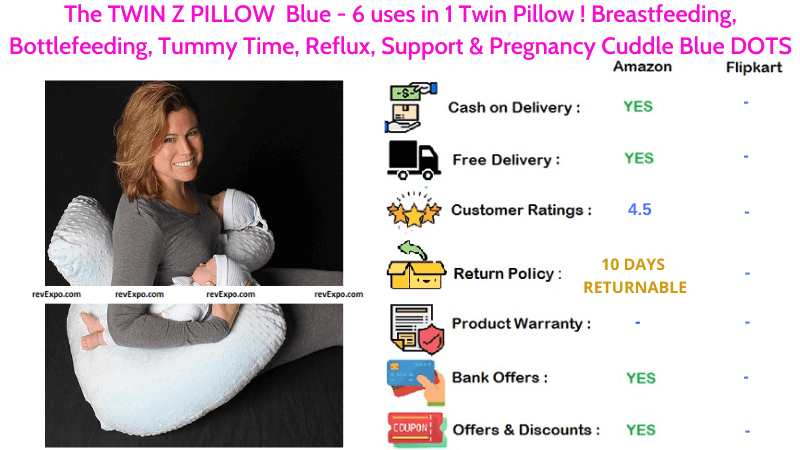 The TWIN Z FEEDING PILLOW - 6 in 1 for Tummy Time, Breastfeeding, Reflux, Bottlefeeding, Support & Pregnancy with Blue Cuddle DOTS