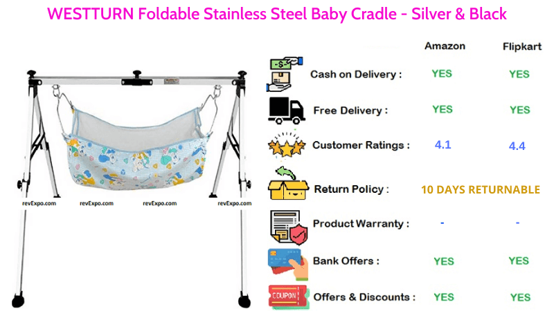 WESTTURN Baby Cradle with Foldable Stainless Steel Material in Silver & Black