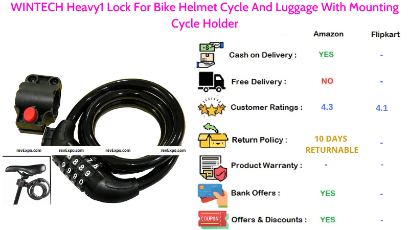 WINTECH Helmet Lock Heavy For Bike, Cycle & Luggage With Mounting Cycle Holder