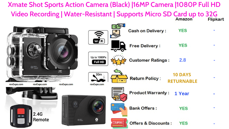 Xmate Shot Sports Action Helmet Camera Water-Resistant with 16MP Camera & 1080P Full HD Video Recording Supports up to 32 GB Micro SD Storage