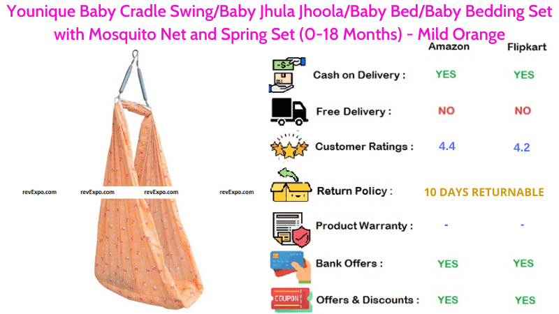 Younique Baby Swing Baby Jhoola Bedding Set with Spring Set & Mosquito Net for 0-18 Months Babies