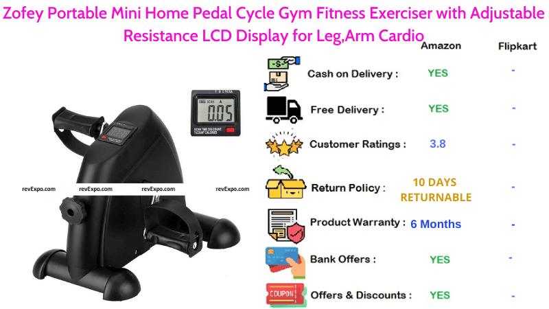 Zofey Portable Exercise Cycle Mini Home Pedal Gym Fitness Cycle with Adjustable Resistance LCD Display for Leg & Arm Cardio