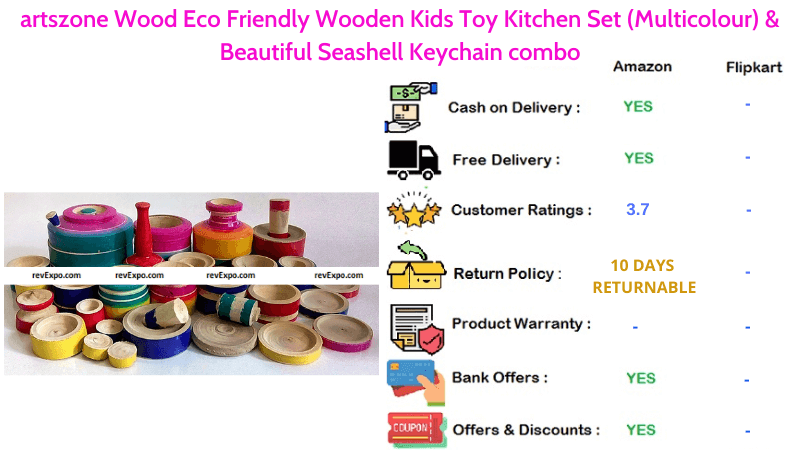 artszone Kitchen Set for Kids Wood Eco Friendly Wooden Kids Toys with Beautiful Seashell Keychain combo in Multicolour