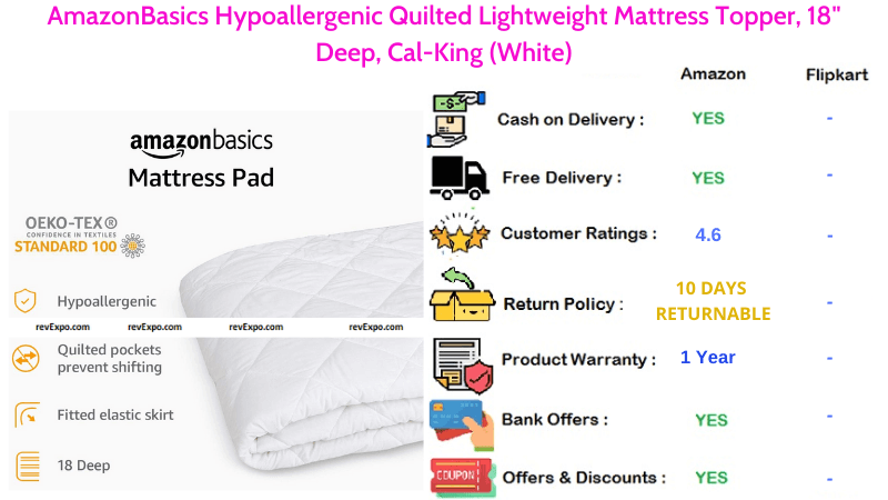 AmazonBasics Mattress Topper 18 Inches Deep, Cal-King with Lightweight & Hypoallergenic Quilted