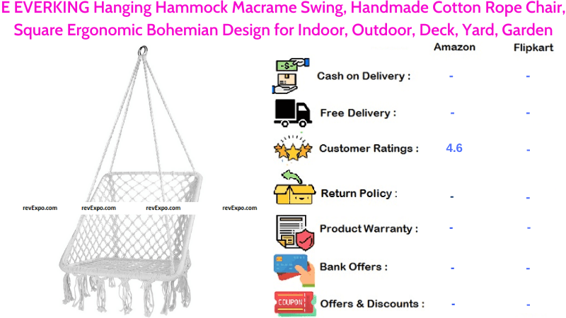 E EVERKING Hanging Hammock Macrame Swing with Handmade Cotton Rope Chair Square Ergonomic Bohemian Design for Indoor & Outdoor