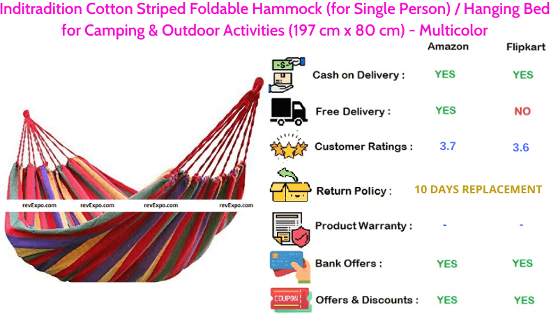 Inditradition Hammock Cotton Striped Foldable Hanging Bed for Camping & Outdoor Activities in Multicolor Best for Single Person