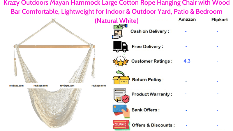 Krazy Outdoors Mayan Hammock Comfortable, Lightweight for Indoor & Outdoor in Natural White Large Cotton Rope Hanging Chair with Wood Bar