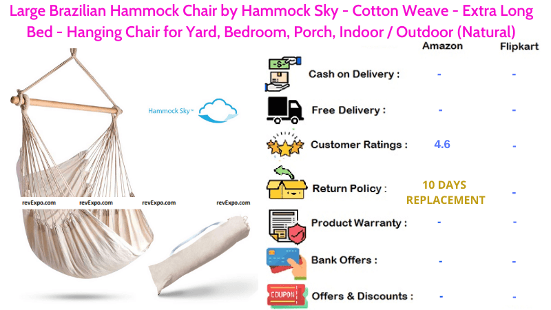 Large Brazilian Hammock Chair with Sky Cotton Weave Extra Long Bed Hanging Chair for Yard, Bedroom, Indoor & Outdoor