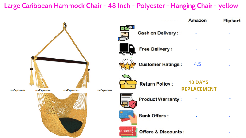 Large Caribbean Hammock 48 Inch Polyester Hanging Chair in Yellow