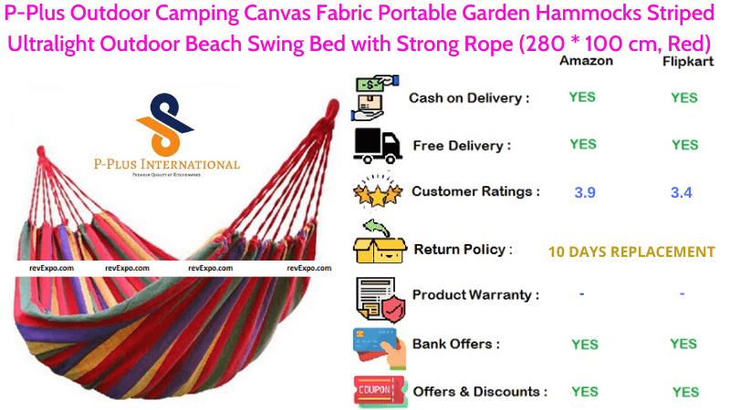 P-Plus Hammock with Canvas Fabric Portable Garden Outdoor Camping Beach Swing Bed with Striped Ultralight Strong Rope in Red