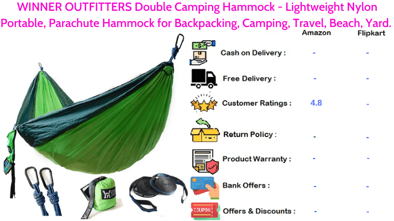 WINNER Hammock OUTFITTERS Double Camping in Lightweight Portable Nylon Parachute Hammock for Backpacking, Travel, Camping & Yard