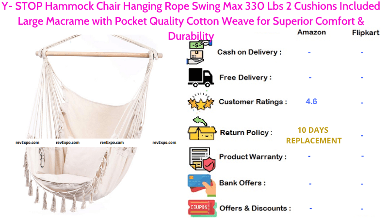 Y- STOP Hammock Hanging Rope Swing Max Chair with 330 Lbs, 2 Cushions Included Large Macrame & Pocket Quality Cotton Weave for Superior Comfort