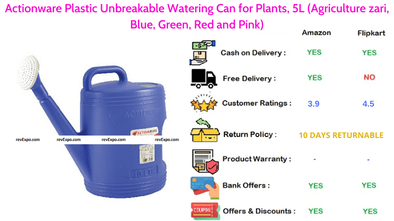 Actionware Plastic Unbreakable Watering Can with 5L Capacity for Plants
