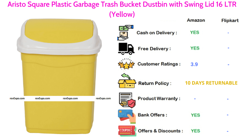 Aristo Square Plastic Garbage Dustbin with Swing Lid & 16 LTR Capacity