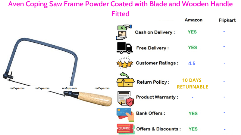 Aven Coping Saw with Powder Coated Frame Blade & Fitted Wooden Handle