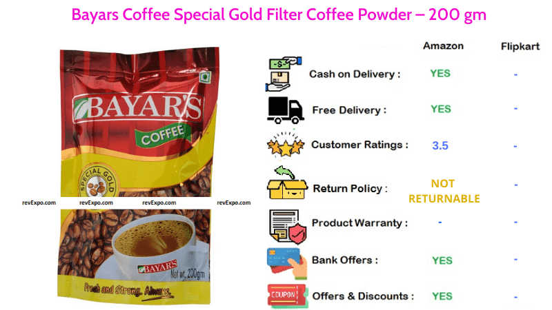 Bayars Coffee Powder Special Gold Filter Coffee in 200 gm Pack