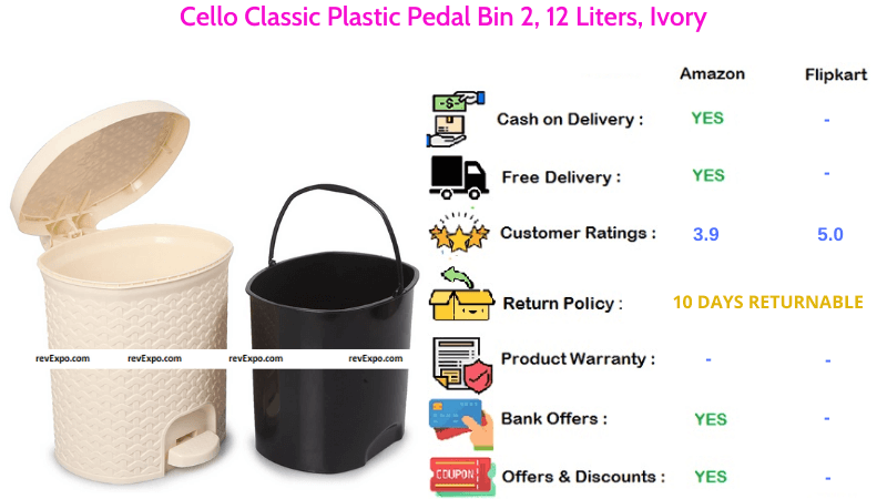 Cello Classic Dustbin with 12 Liters Capacity