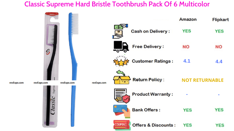 Classic Toothbrush Supreme Hard Bristle Pack of 6