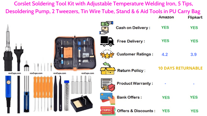 Corslet Soldering Iron Kit with 5 Tips & 6 Aid Tools in PU Carry Bag