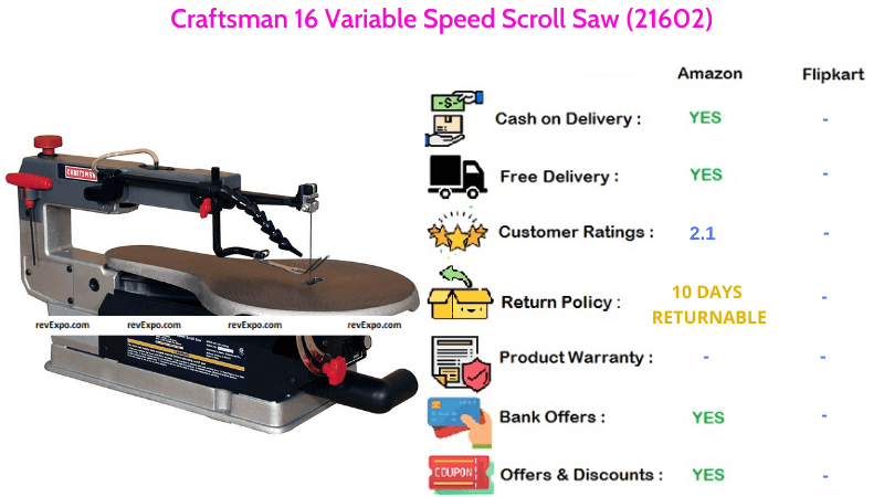 Craftsman Scroll Saw with 16 Variable Speed (21602)