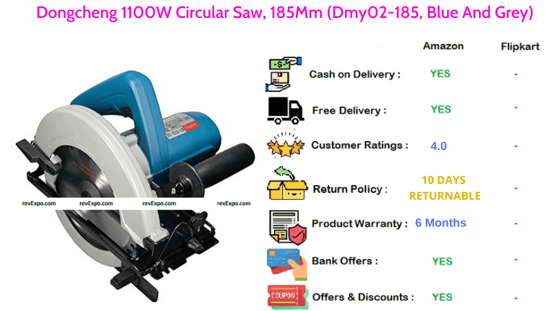 Dongcheng 185mm Circular Saw with 1100W Dmy02-185 in Blue & Grey