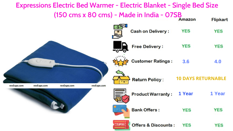 Expressions Electric Blanket Bed Warmer for Single Bed Size (150 cms x 80 cms) Made in India