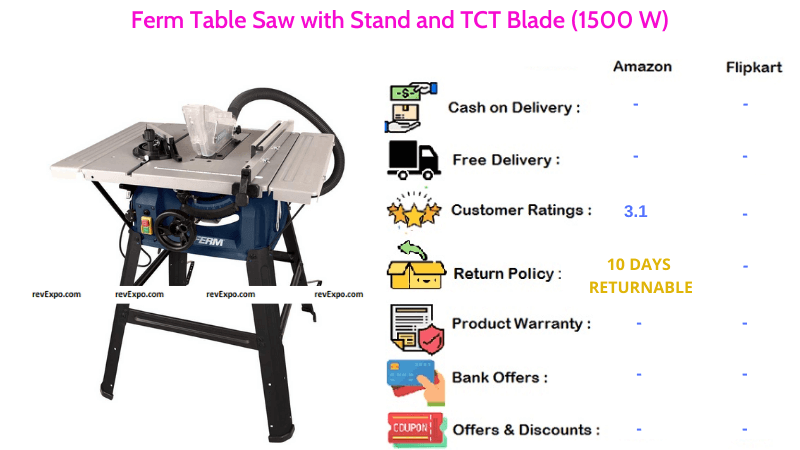 Ferm Table Saw 1500 W with Stand and TCT Blade