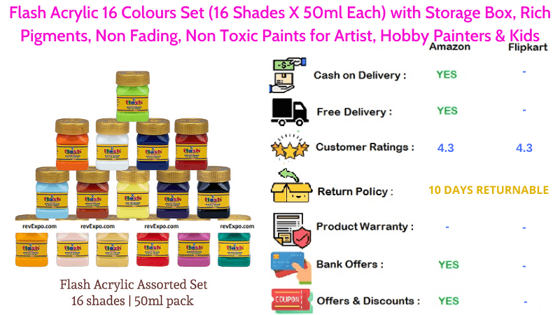 Flash Acrylic 16 Colours Set for Artist, Hobby Painters & Kids