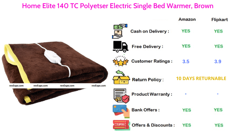Home Elite Electric Blanket with 140 TC Polyetser Single Bed Warmer in Brown
