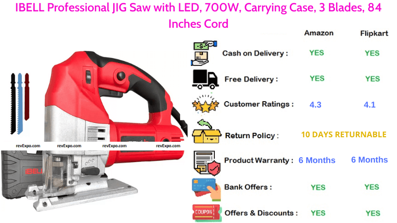 IBELL Professional JIG Saw with 700W, LED, 3 Blades, 84 Inches Cord & Carrying Case
