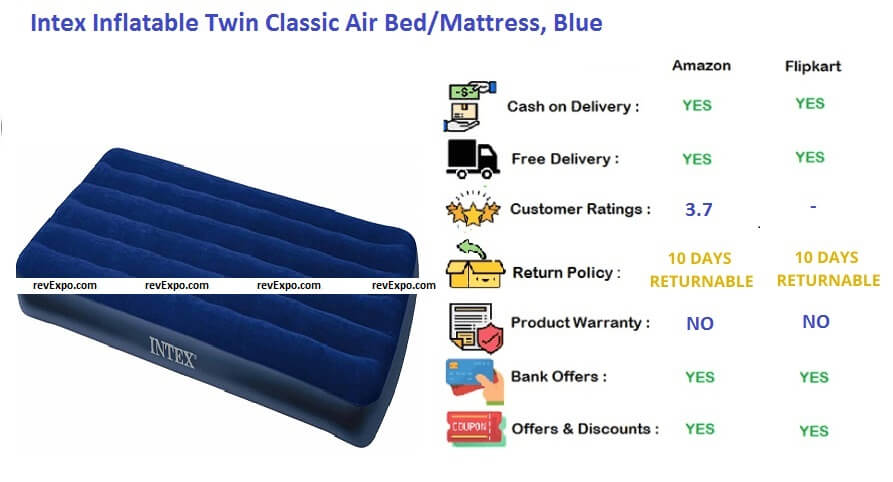 Intex inflatable twin classic air bed